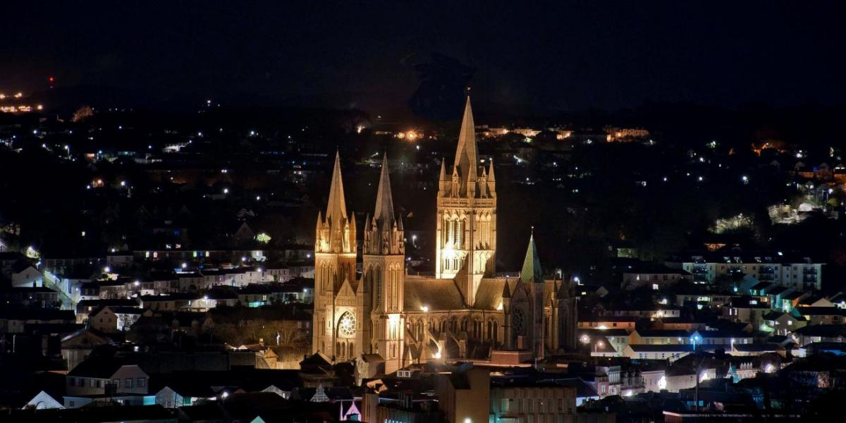 Truro Cathedral at night